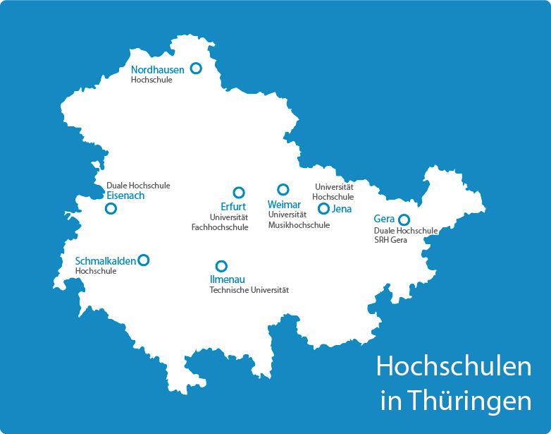Eine Übersicht über die Standorte der Thüringer Hochschulen auf einer stilisierten Landkarte des Freistaats Thüringen.